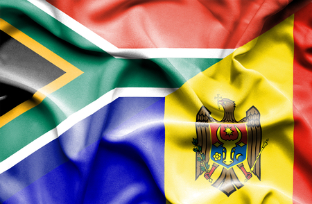moldavia: Waving flag of Moldavia and South Africa Stock Photo