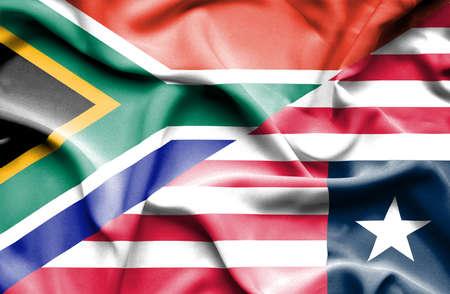 liberia: Waving flag of Liberia and South Africa