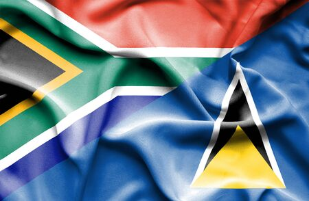 st lucia: Waving flag of St Lucia and South Africa
