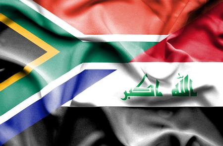iraq war: Waving flag of Iraq and South Africa