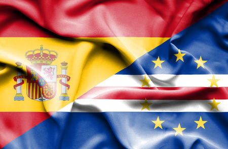 cape verde: Waving flag of Cape Verde and Spain