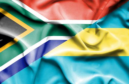 bahamas: Waving flag of Bahamas and South Africa Stock Photo