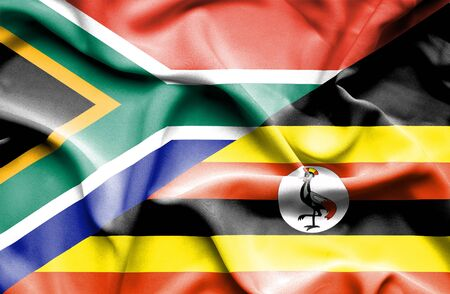 uganda: Waving flag of Uganda and South Africa