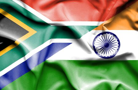 south india: Waving flag of India and South Africa Stock Photo