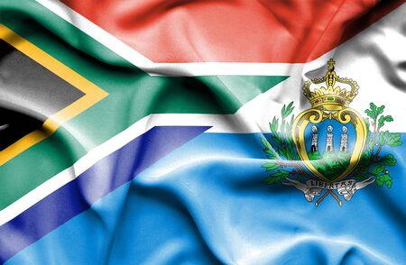marino: Waving flag of San Marino and South Africa