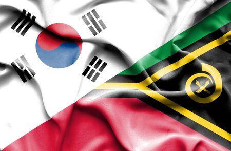 vanuatu: Waving flag of Vanuatu and South Korea Stock Photo