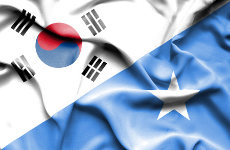 somalian culture: Waving flag of Somalia and South Korea