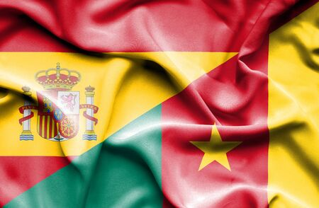 cameroonian: Waving flag of Cameroon and Spain Stock Photo