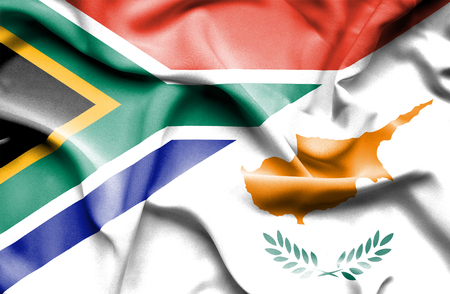Waving flag of Cyprus and South Africa