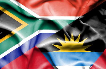 antigua: Waving flag of Antigua and Barbuda and South Africa