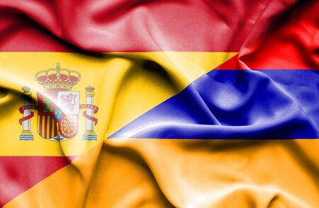 armenia: Waving flag of Armenia and Spain Stock Photo