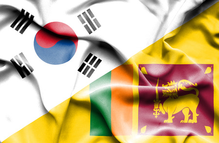 sri lanka: Waving flag of Sri Lanka and South Korea