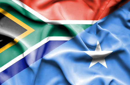 somalian culture: Waving flag of Somalia and South Africa Stock Photo
