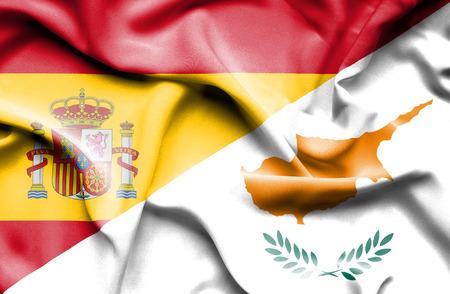 spanish flag: Waving flag of Cyprus and ,Spain,Spain flag,Spanish flag, Stock Photo