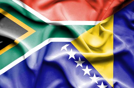 bosnia and  herzegovina: Waving flag of Bosnia and Herzegovina and South Africa Stock Photo