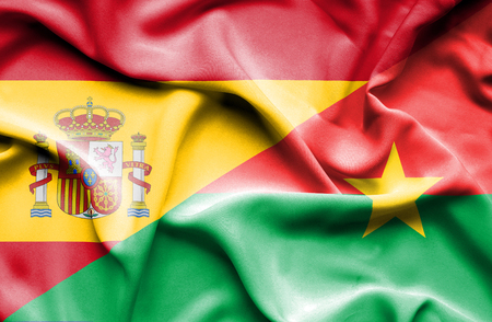 spanish flag: Waving flag of Burkina Faso and ,Spain,Spain flag,Spanish flag,