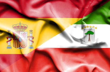 equatorial: Waving flag of Equatorial Giuinea and Spain