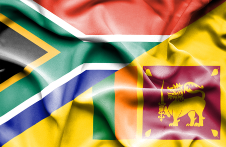 sri lankan flag: Waving flag of Sri Lanka and South Africa