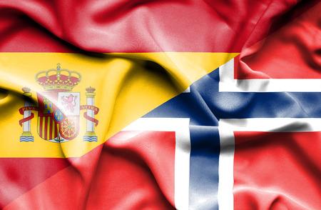 norway flag: Waving flag of Norway and Spain