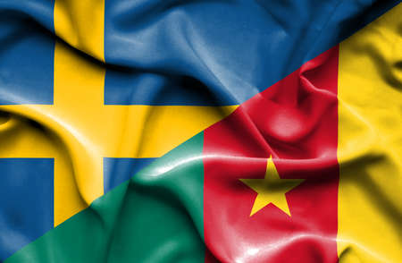 cameroon: Waving flag of Cameroon and Stock Photo
