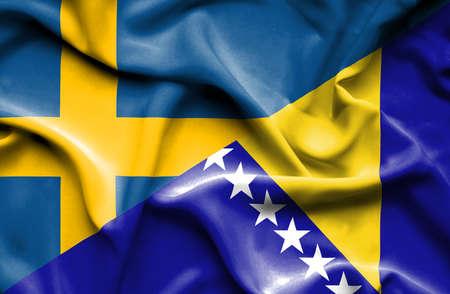 herzegovina: Waving flag of Bosnia and Herzegovina and