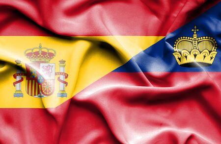 lichtenstein: Waving flag of Lichtenstein and Spain Stock Photo
