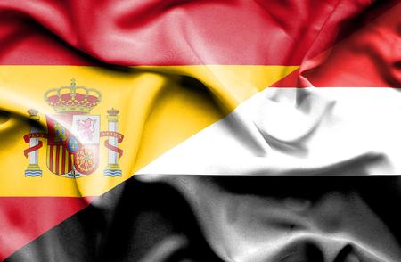 yemen: Waving flag of Yemen and Spain