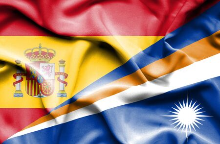 marshall: Waving flag of Marshall Islands and Spain