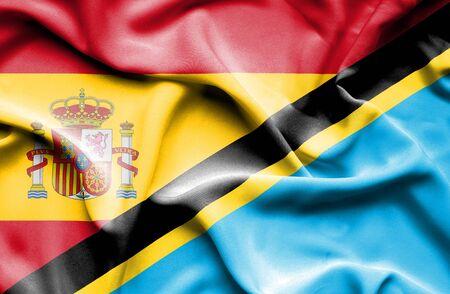 tanzania: Waving flag of Tanzania and Spain
