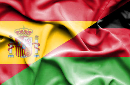 malawian flag: Waving flag of Malawi and Spain Stock Photo