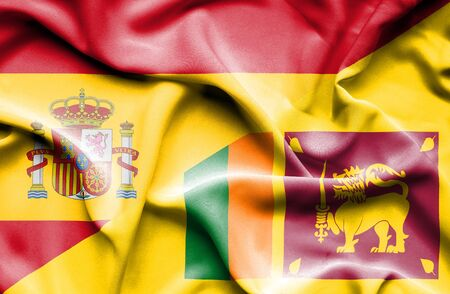 sri: Waving flag of Sri Lanka and Spain Stock Photo