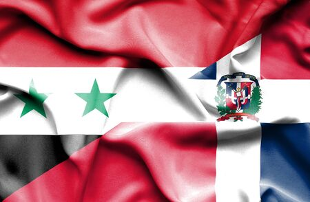 syria peace: Waving flag of Dominican Republic and Syria