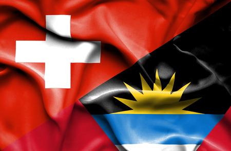 antigua and barbuda: Waving flag of Antigua and Barbuda and