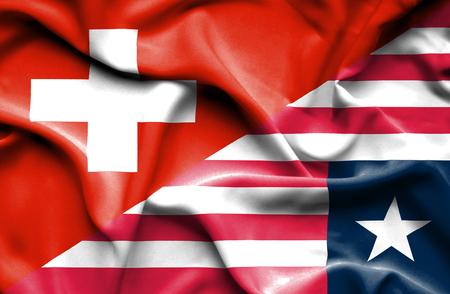 liberia: Waving flag of Liberia and
