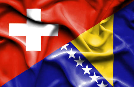 bosnia and  herzegovina: Waving flag of Bosnia and Herzegovina and