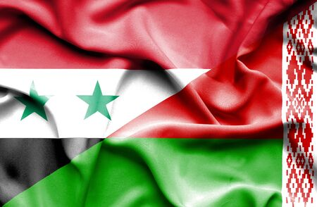 syria peace: Waving flag of Belarus and Syria