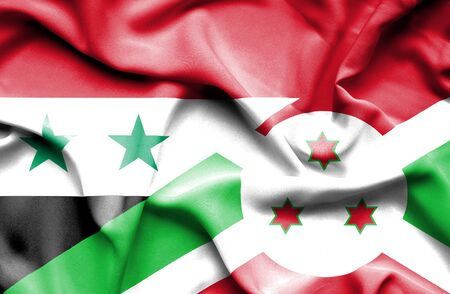 burundi: Waving flag of Burundi and Syria