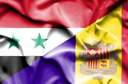 syria peace: Waving flag of Andorra and Syria Stock Photo
