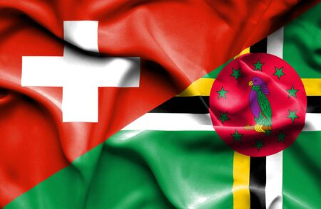 dominica: Waving flag of Dominica and
