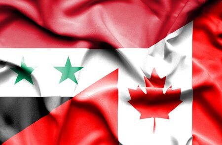syria peace: Waving flag of Canada and Syria