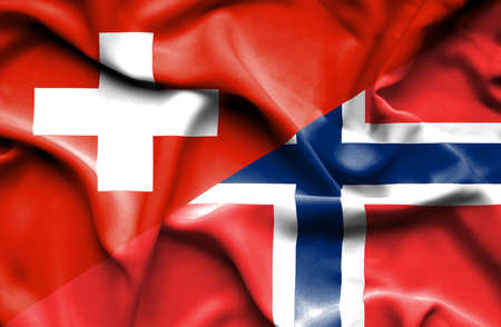 norway flag: Waving flag of Norway and