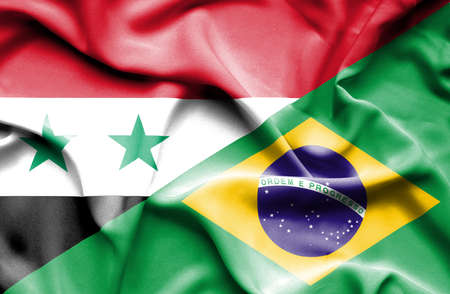 syria peace: Waving flag of Brazil and Syria Stock Photo