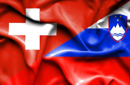 slovenia: Waving flag of Slovenia and