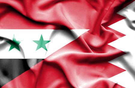 bahrain money: Waving flag of Bahrain and Syria Stock Photo