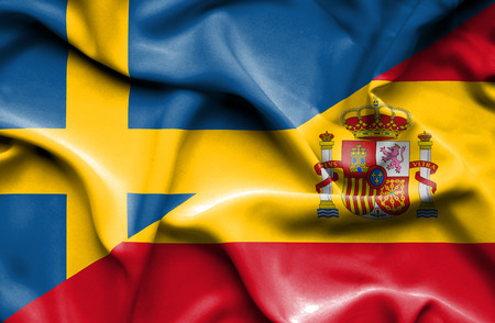 Waving flag of Spain and