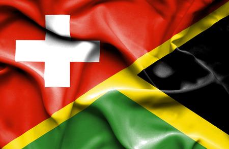 jamaica: Waving flag of Jamaica and