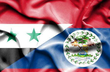 belize: Waving flag of Belize and Syria