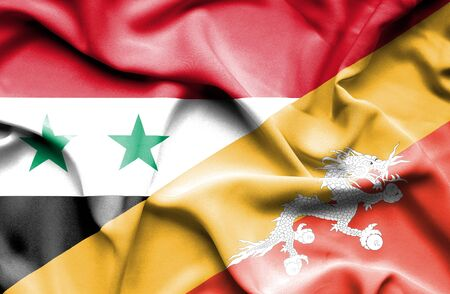 syria peace: Waving flag of Bhutan and Syria