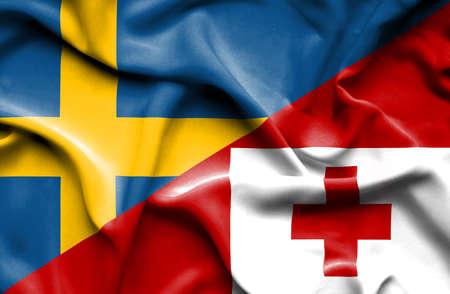 tonga: Waving flag of Tonga and