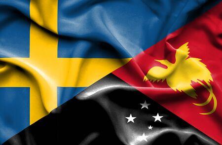 Nuova Guinea: Sventolando la bandiera della Papua Nuova Guinea e